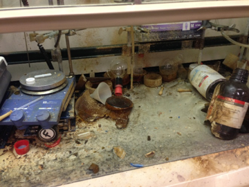 laboratory bench after explosion