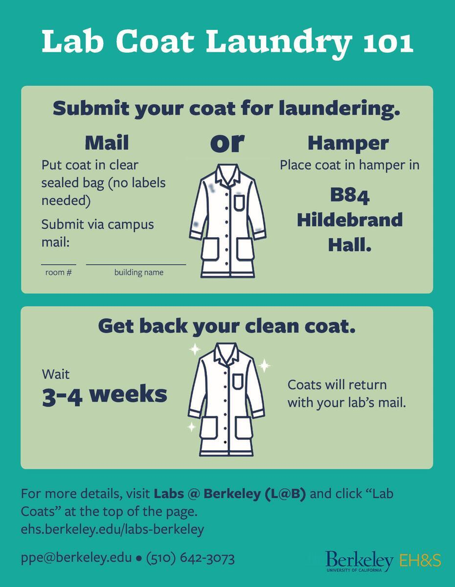 submit your coat for laundering (mail or hamper in b84 hildebrand), get your coat back clean